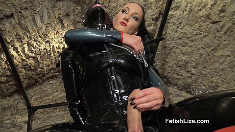 Rubber fetish slave milking