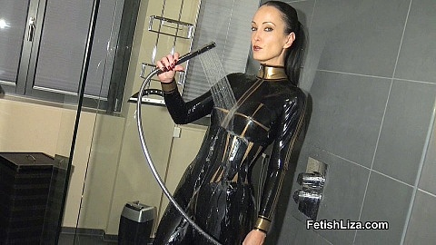 Sexy wet latex catsuit