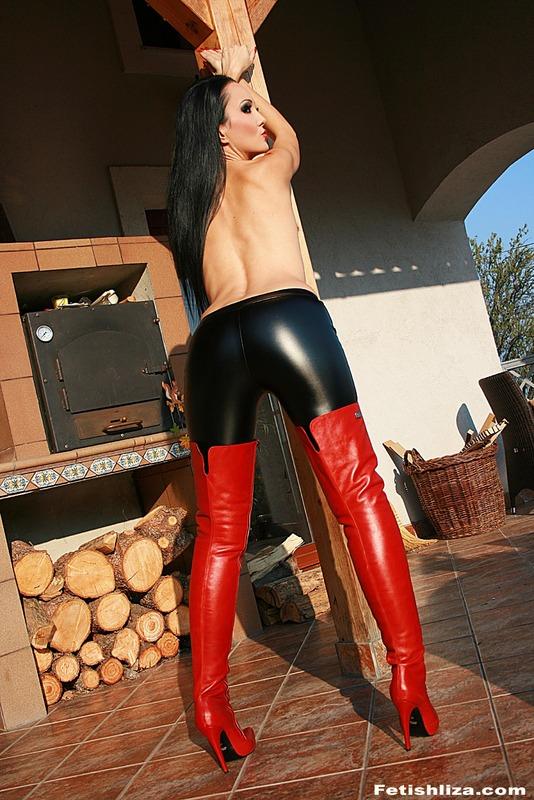 Shiny leggings and high heels 8